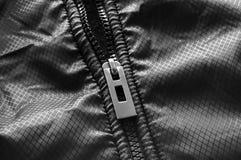 Zipper. Black zipper on impermeable material Stock Photos