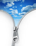 Zipper. Opened zipper revealing a blue cloudy sky, 3d render Stock Images