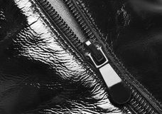 Zipper. A leather product, a photo close up stock image