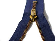 Zipper. Blue zipper Stock Images