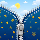 Zipper background. Night is changed with day. Zipper fantasy illustration. Night is changed with day Stock Photography