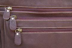 Zipper bag leather Stock Image