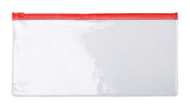 Zipper bag. Plastic transparent zipper document  bag isolated on white Royalty Free Stock Images