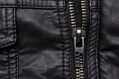 Zipper on black leather jacket Stock Photography