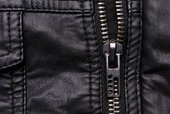 Zipper on black leather jacket Stock Photography
