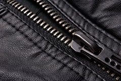 Zipper on black leather jacket Royalty Free Stock Photos