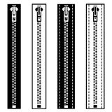 Zipper black white symbols Royalty Free Stock Photography
