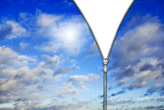 Zipper and blue clouds Royalty Free Stock Photos