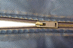Zipper on brown leather motorcycle jacket Stock Image