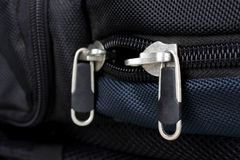 Zipper and buckle on a backpack. Royalty Free Stock Image