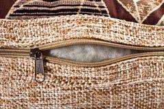 Zipper clasp on decorative pillow Stock Images
