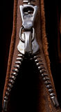 Zipper close-up. Brass zipper lock in unzip leather bag. close-up Royalty Free Stock Photos