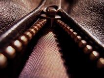 Zipper on leather jacket Stock Photography