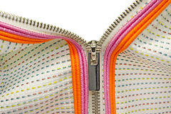 Zipper closeup with emty space. Royalty Free Stock Images
