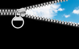 Zipper and cloudy sky. Abstract nature background Royalty Free Stock Image