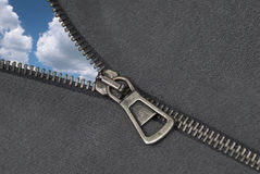 Zipper and cloudy sky abstract Stock Images