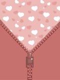 Zipper com corações Ilustração do Vetor