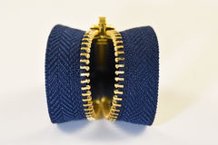 Zipper. Dark blue metalic opened zipper Stock Image