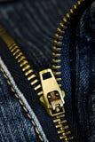 Zipper das calças de brim Fotos de Stock Royalty Free