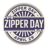 Zipper Day stamp. Zipper Day, April 29, rubber stamp, vector Illustration Stock Image
