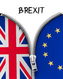 Zipper dividing UK and EU in a Brexit concept. Stock Photography