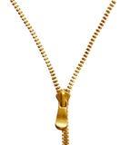 Zipper dourado imagens de stock