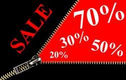 zipper för begreppsplakatförsäljning Arkivfoton