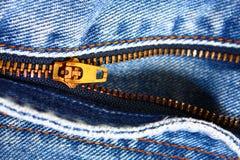 zipper för blå jean Royaltyfria Foton