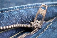 zipper för blå jean Royaltyfria Bilder