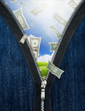 Zipper and falling money Stock Photos