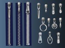 Zipper fasteners and pullers realistic vectors set vector illustration