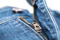 zipper för blå jean Arkivfoto