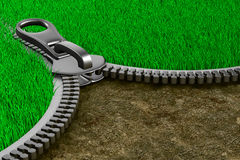 Zipper with grass and ground.  3D Stock Photos