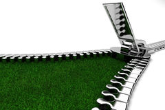 Zipper with Grass. Open the zipper to see the grass vector illustration