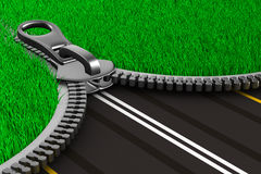 Zipper with grass and road.  3D Stock Photos