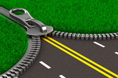 Zipper with grass and road. Isolated 3D Royalty Free Stock Photo