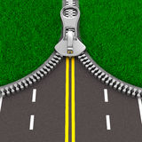 Zipper with grass and road. Isolated 3D Royalty Free Stock Photography