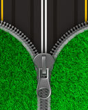 Zipper with grass and road. Isolated 3D Stock Photography