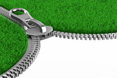 Zipper with grass on white background. Isolated 3D Stock Images