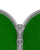 Zipper with grass on white background. Isolated 3D Stock Image