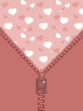 Zipper with hearts Stock Image