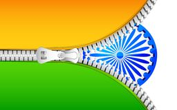 Zipper in India Flag. Illustration of India flag with open zipper Stock Image