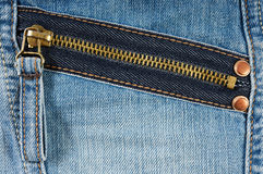 Zipper on Jeans Stock Images
