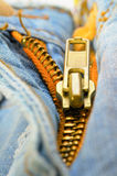 Zipper on  jeans Royalty Free Stock Photos