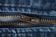 Zipper on jeans. macro Stock Images