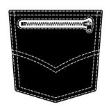 Zipper jeans pocket black symbol Stock Photography