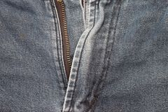 Zipper on Jeans. Zipper on Jeans The show opened.view on outside Royalty Free Stock Photo