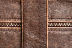 Zipper and leather Stock Images