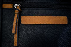 Zipper On A Leather Bag Royalty Free Stock Images