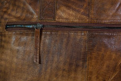 Zipper of leather bag Royalty Free Stock Photos
